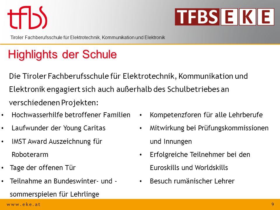 www.eke.at 9 Tiroler Fachberufsschule für Elektrotechnik, Kommunikation und Elektronik Highlights der Schule Die Tiroler Fachberufsschule für Elektrot