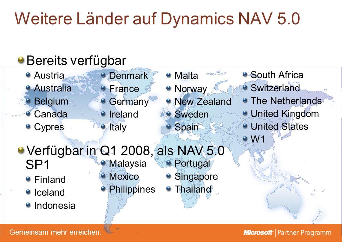 © degroupwww.degroup.de Gemeinsam mehr erreichen. Weitere Länder auf Dynamics NAV 5.0 Malta Norway New Zealand Sweden Spain Bereits verfügbar Austria