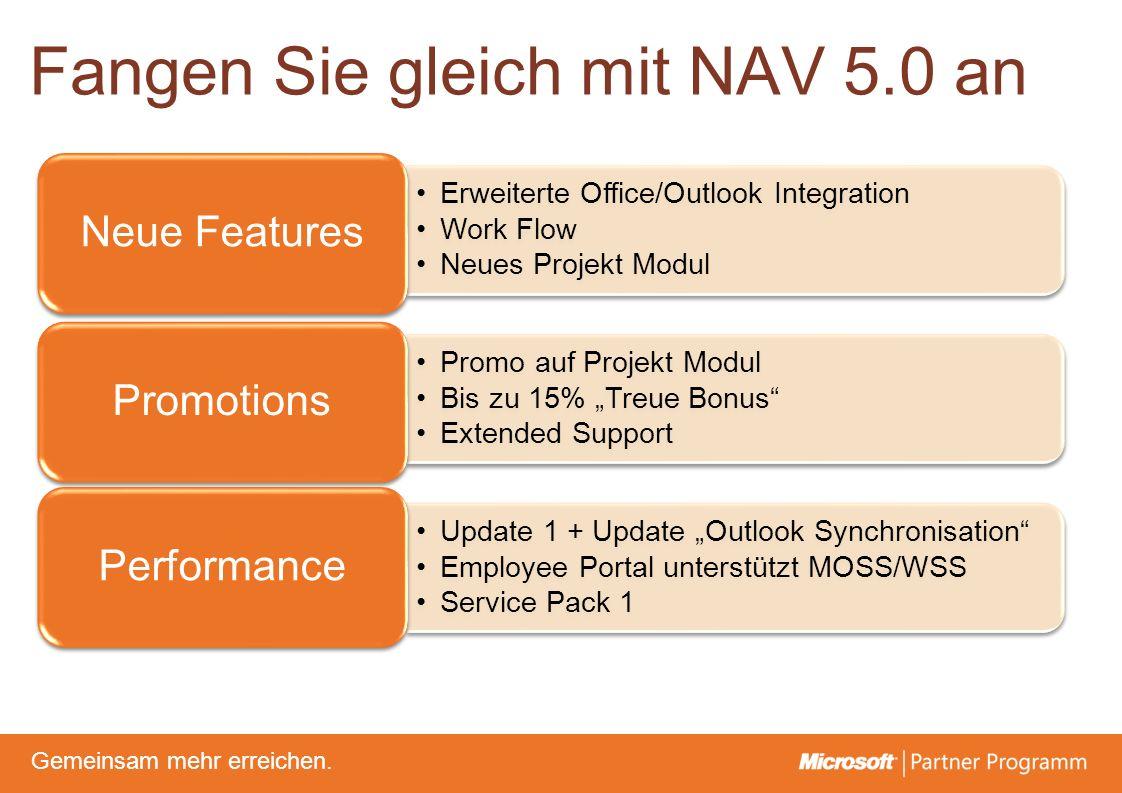 © degroupwww.degroup.de Gemeinsam mehr erreichen. Fangen Sie gleich mit NAV 5.0 an Erweiterte Office/Outlook Integration Work Flow Neues Projekt Modul