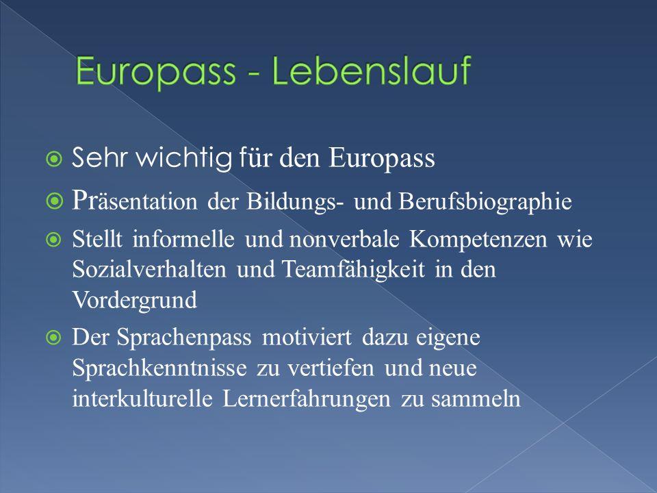 Sehr wichtig f ür den Europass Pr äsentation der Bildungs- und Berufsbiographie Stellt informelle und nonverbale Kompetenzen wie Sozialverhalten und T