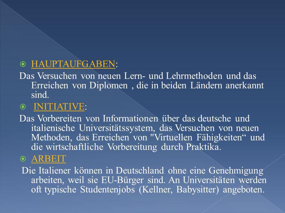 HAUPTAUFGABEN: Das Versuchen von neuen Lern- und Lehrmethoden und das Erreichen von Diplomen, die in beiden Ländern anerkannt sind.