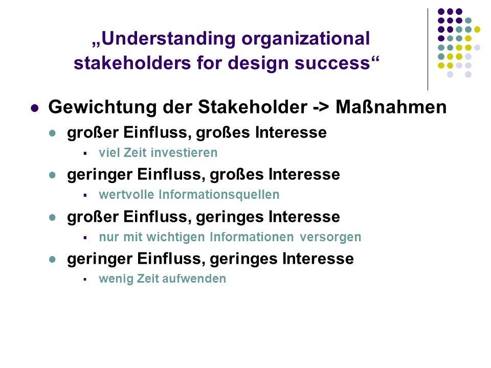 Understanding organizational stakeholders for design success Gewichtung der Stakeholder -> Maßnahmen großer Einfluss, großes Interesse viel Zeit inves