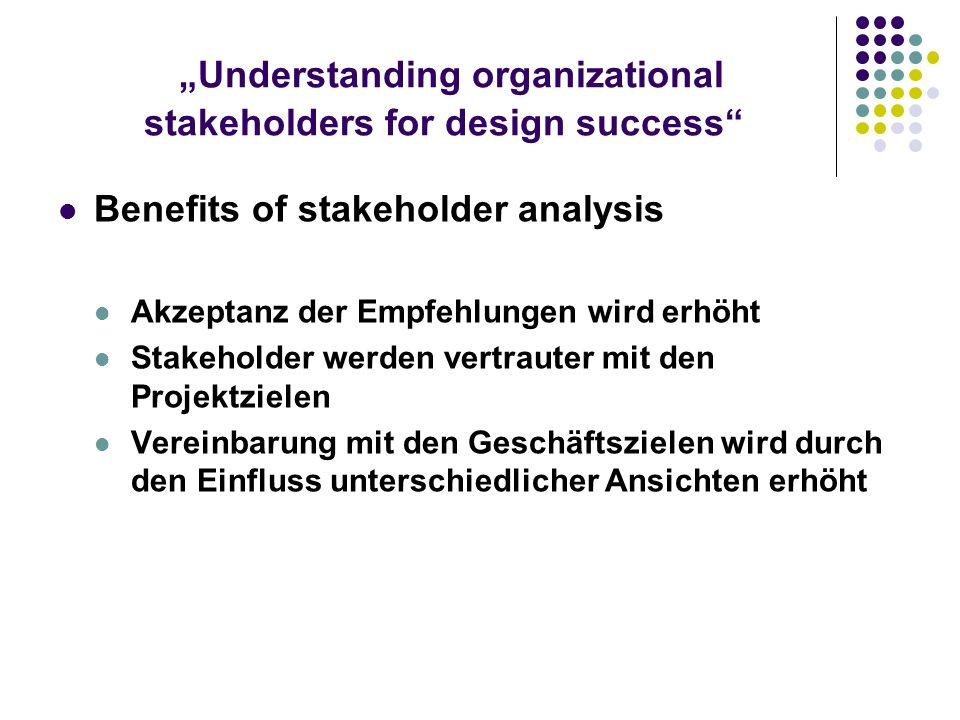 Understanding organizational stakeholders for design success Benefits of stakeholder analysis Akzeptanz der Empfehlungen wird erhöht Stakeholder werde