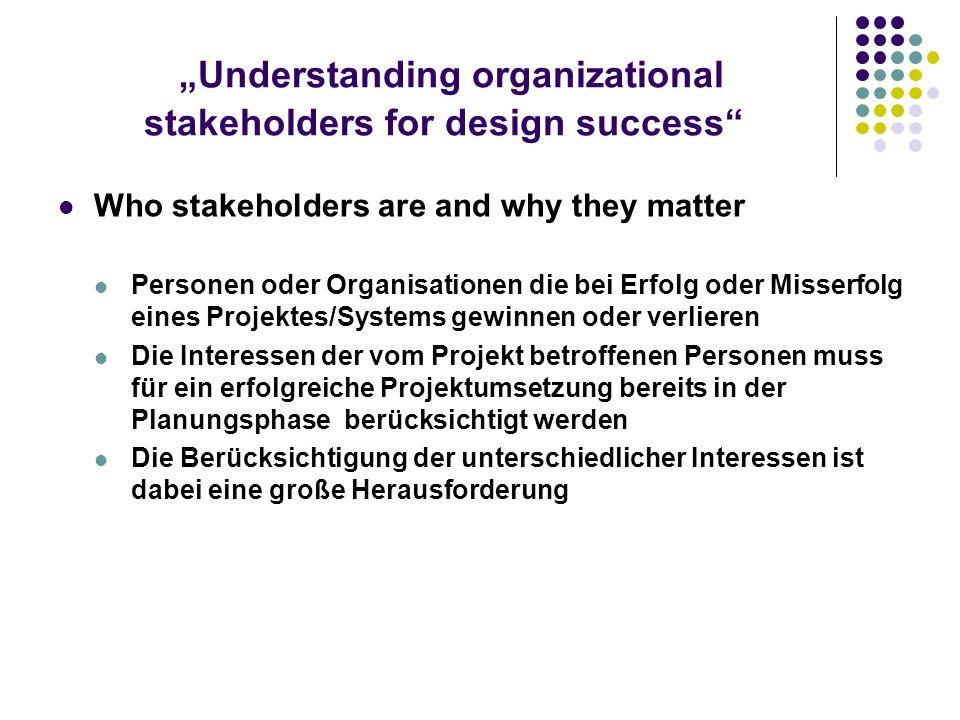 Understanding organizational stakeholders for design success Benefits of stakeholder analysis Akzeptanz der Empfehlungen wird erhöht Stakeholder werden vertrauter mit den Projektzielen Vereinbarung mit den Geschäftszielen wird durch den Einfluss unterschiedlicher Ansichten erhöht
