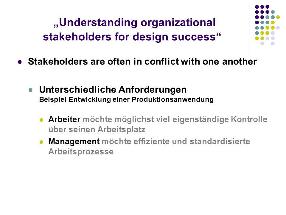 Understanding organizational stakeholders for design success Stakeholders are often in conflict with one another Unterschiedliche Anforderungen Beispi