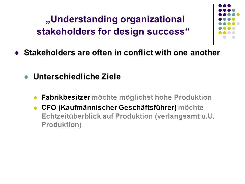 Understanding organizational stakeholders for design success Stakeholder analysis Werkzeug für den Entwickler/Projektleiter, um die unterschiedlichen Anforderungen und Ziele der Beteiligten zu bewerten und diese mit den Geschäftsanforderungen zu vereinen