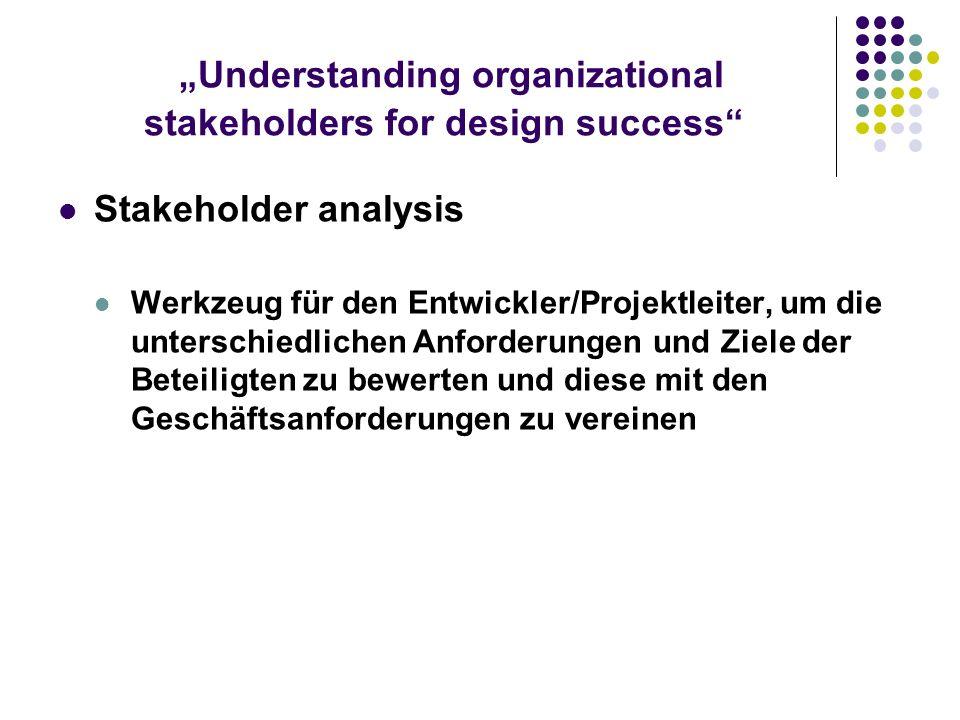 Understanding organizational stakeholders for design success Stakeholder analysis Werkzeug für den Entwickler/Projektleiter, um die unterschiedlichen