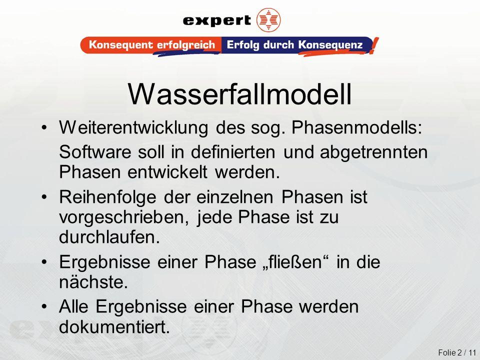 Folie 2 / 11 Wasserfallmodell Weiterentwicklung des sog. Phasenmodells: Software soll in definierten und abgetrennten Phasen entwickelt werden. Reihen