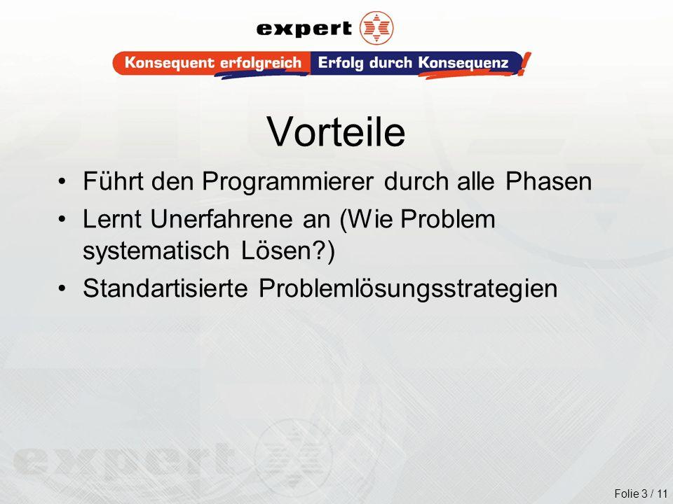 Folie 3 / 11 Führt den Programmierer durch alle Phasen Lernt Unerfahrene an (Wie Problem systematisch Lösen?) Standartisierte Problemlösungsstrategien
