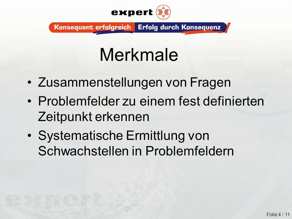 Folie 4 / 11 Zusammenstellungen von Fragen Problemfelder zu einem fest definierten Zeitpunkt erkennen Systematische Ermittlung von Schwachstellen in P