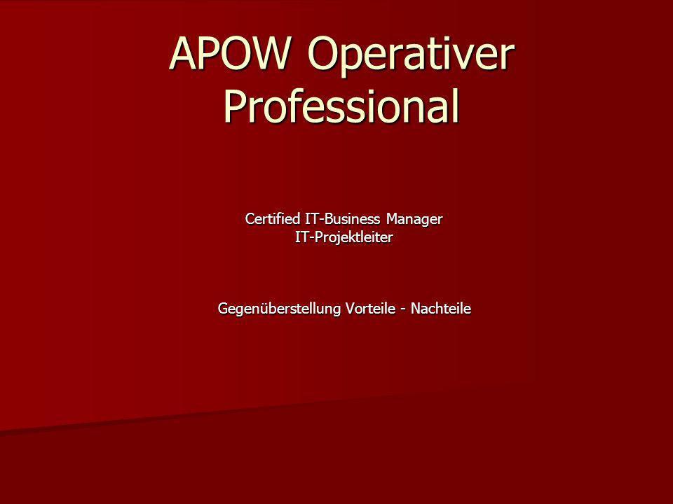 APOW Operativer Professional Certified IT-Business Manager IT-Projektleiter Gegenüberstellung Vorteile - Nachteile
