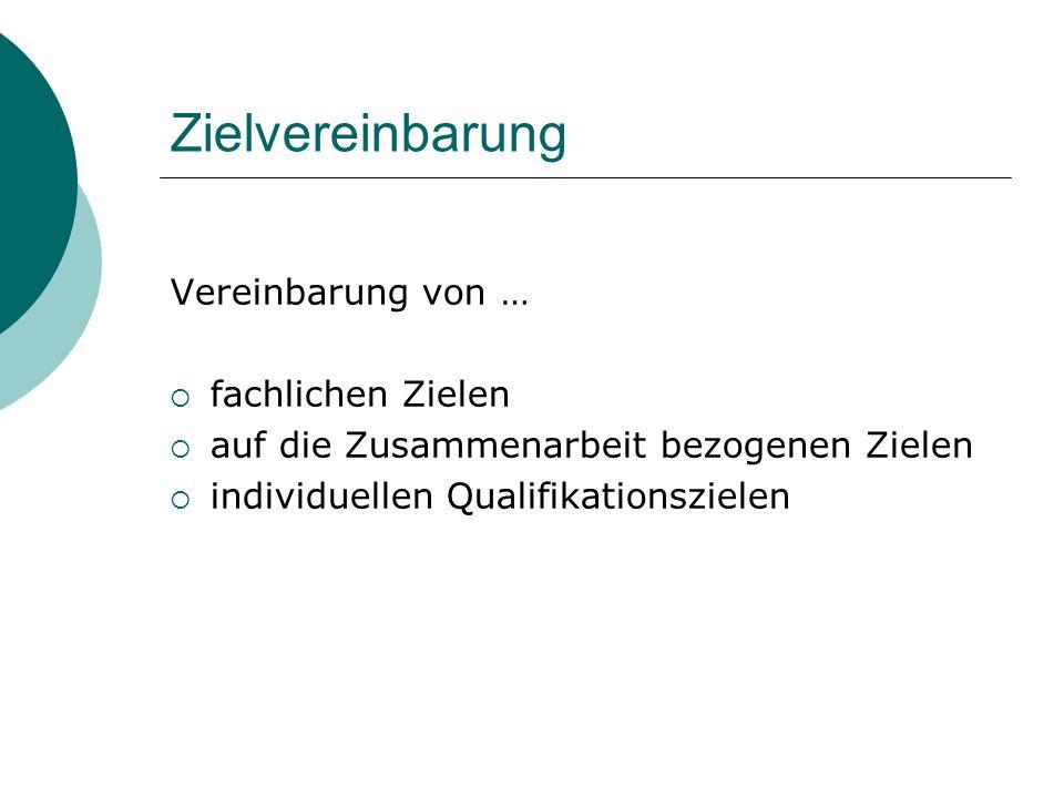 Zielvereinbarung Vereinbarung von … fachlichen Zielen auf die Zusammenarbeit bezogenen Zielen individuellen Qualifikationszielen
