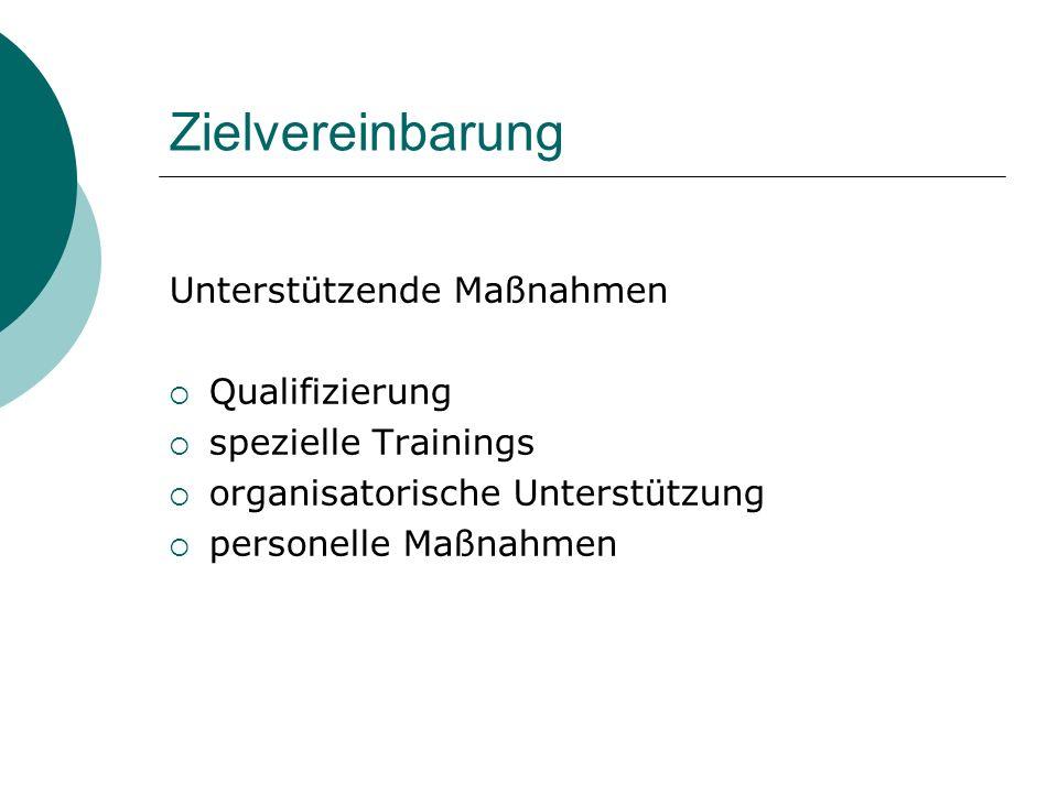 Zielvereinbarung Unterstützende Maßnahmen Qualifizierung spezielle Trainings organisatorische Unterstützung personelle Maßnahmen