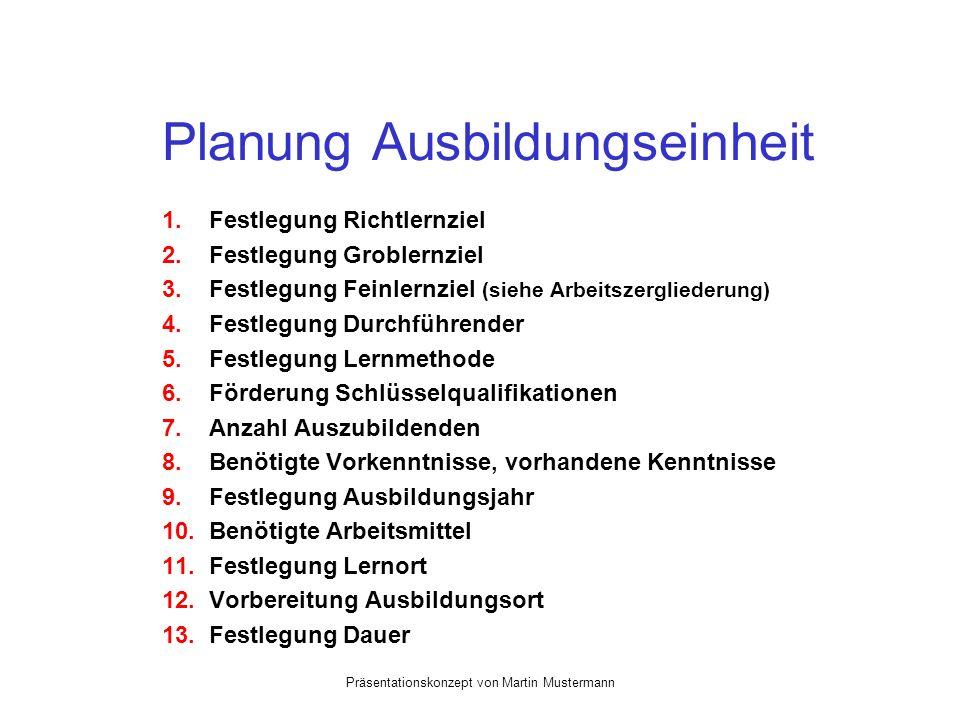 Präsentationskonzept von Martin Mustermann Planung Ausbildungseinheit 1. Festlegung Richtlernziel 2. Festlegung Groblernziel 3. Festlegung Feinlernzie