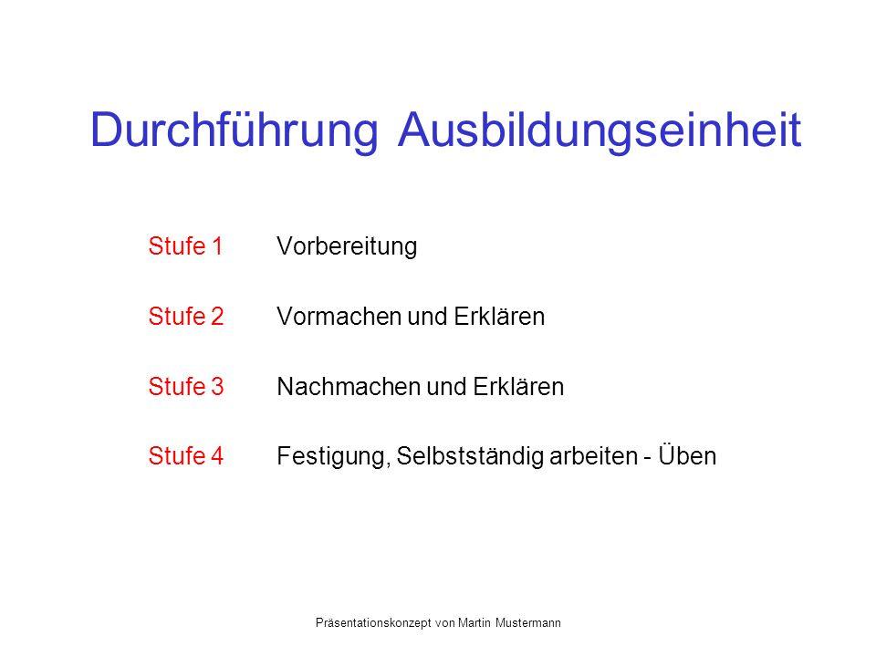 Präsentationskonzept von Martin Mustermann Durchführung Ausbildungseinheit Stufe 1 Vorbereitung Stufe 2 Vormachen und Erklären Stufe 3 Nachmachen und Erklären Stufe 4 Festigung, Selbstständig arbeiten - Üben