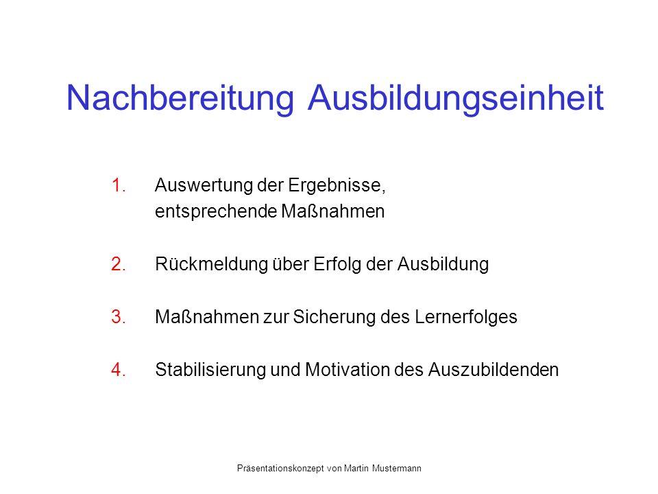 Präsentationskonzept von Martin Mustermann Nachbereitung Ausbildungseinheit 1.Auswertung der Ergebnisse, entsprechende Maßnahmen 2.Rückmeldung über Erfolg der Ausbildung 3.