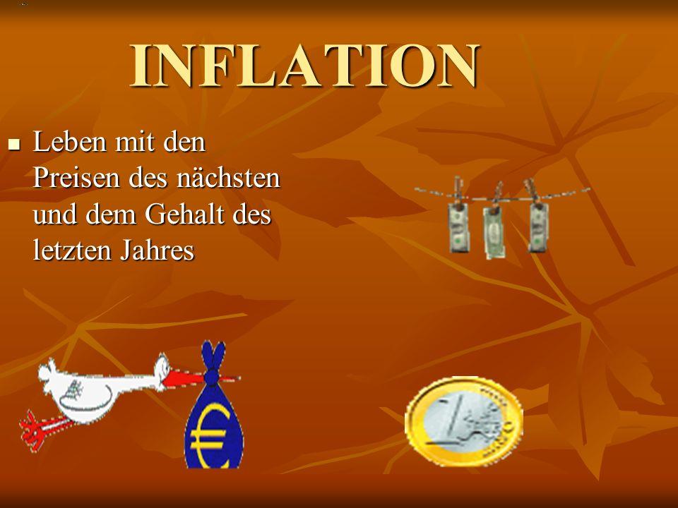 INFLATION Leben mit den Preisen des nächsten und dem Gehalt des letzten Jahres Leben mit den Preisen des nächsten und dem Gehalt des letzten Jahres