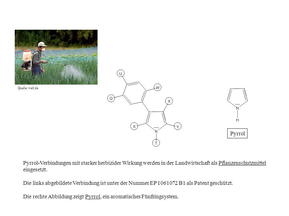 Pyrrol-Verbindungen mit starker herbizider Wirkung werden in der Landwirtschaft als Pflanzenschutzmittel eingesetzt. Die links abgebildete Verbindung