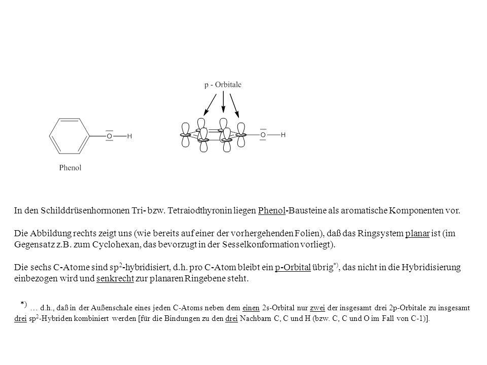 In den Schilddrüsenhormonen Tri- bzw. Tetraiodthyronin liegen Phenol-Bausteine als aromatische Komponenten vor. Die Abbildung rechts zeigt uns (wie be