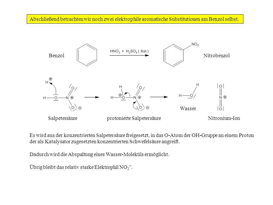 Abschließend betrachten wir noch zwei elektrophile aromatische Substitutionen am Benzol selbst. Es wird aus der konzentrierten Salpetersäure freigeset