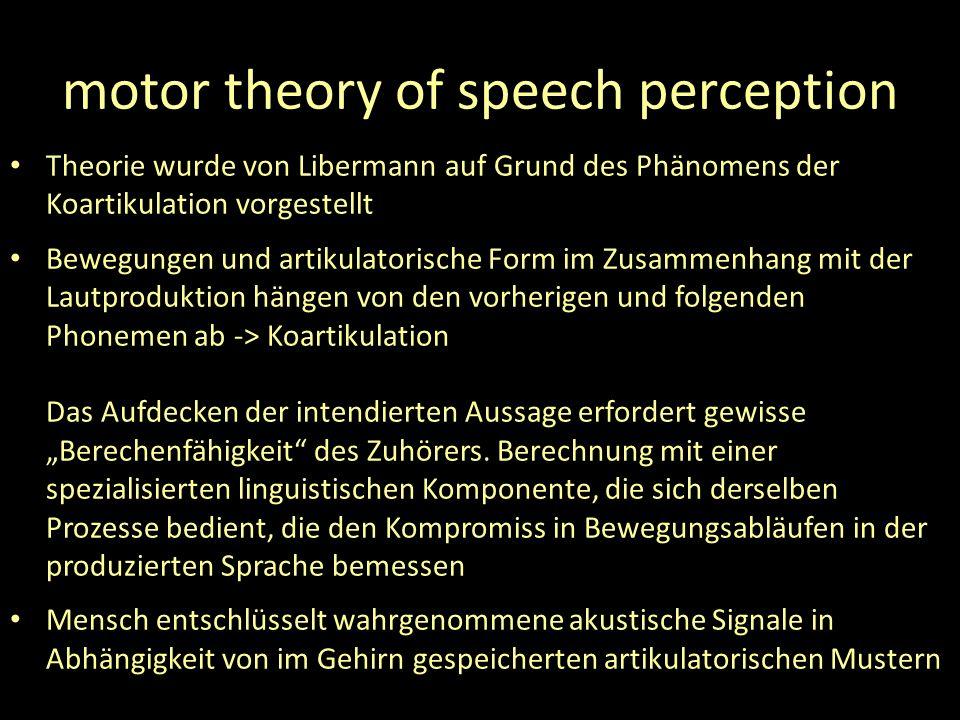motor theory of speech perception Theorie wurde von Libermann auf Grund des Phänomens der Koartikulation vorgestellt Bewegungen und artikulatorische Form im Zusammenhang mit der Lautproduktion hängen von den vorherigen und folgenden Phonemen ab -> Koartikulation Das Aufdecken der intendierten Aussage erfordert gewisse Berechenfähigkeit des Zuhörers.