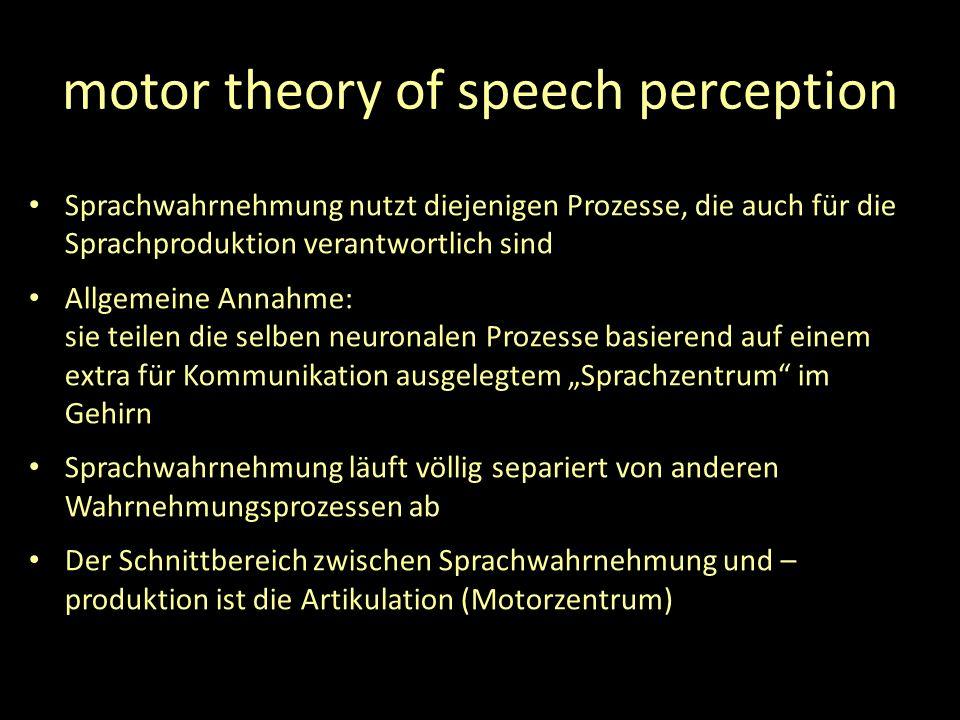 motor theory of speech perception Sprachwahrnehmung nutzt diejenigen Prozesse, die auch für die Sprachproduktion verantwortlich sind Allgemeine Annahme: sie teilen die selben neuronalen Prozesse basierend auf einem extra für Kommunikation ausgelegtem Sprachzentrum im Gehirn Sprachwahrnehmung läuft völlig separiert von anderen Wahrnehmungsprozessen ab Der Schnittbereich zwischen Sprachwahrnehmung und – produktion ist die Artikulation (Motorzentrum)