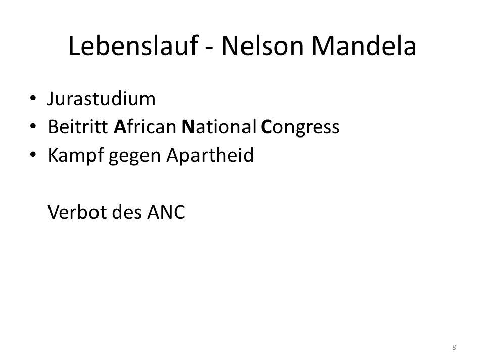 9 Lebenslauf - Nelson Mandela Daraufhin: Werbung im Ausland 1962-1990: 27-jährige Haft 1991: Präsident des wiederzugelassenen ANC 1993: Friedensnobelpreis 1994-1999: Präsident von Südafrika gestorben 5.