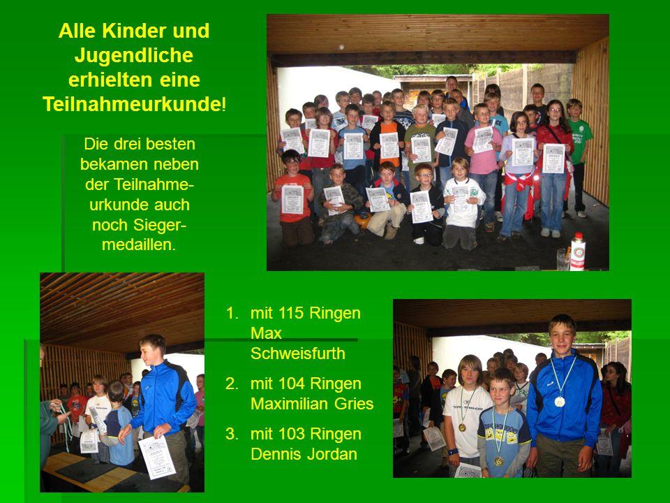 Die drei besten bekamen neben der Teilnahme- urkunde auch noch Sieger- medaillen.
