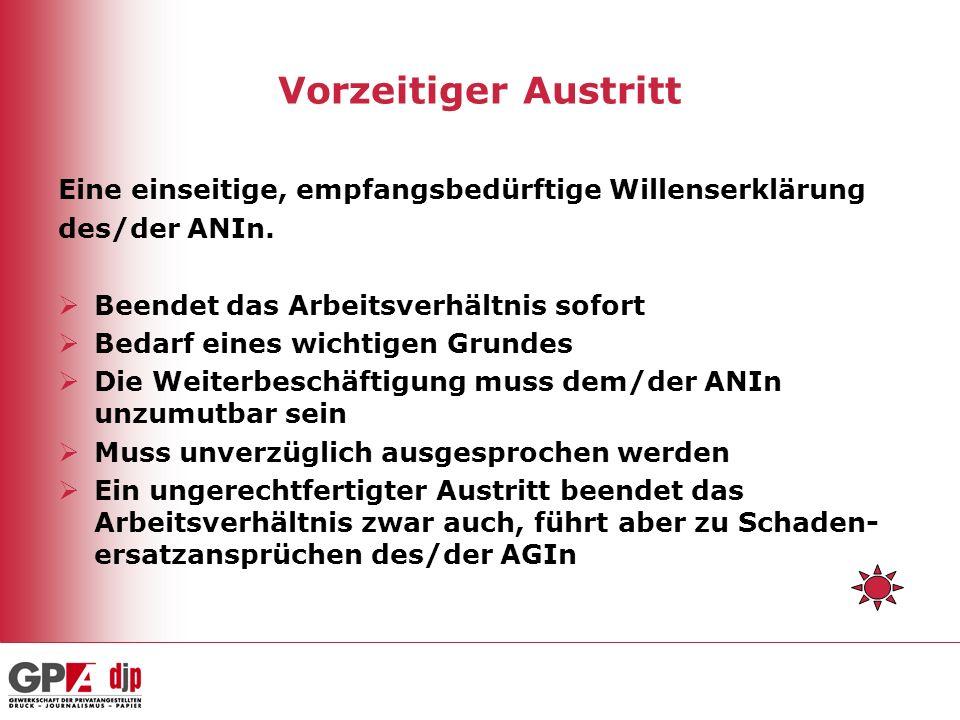 Vorzeitiger Austritt Eine einseitige, empfangsbedürftige Willenserklärung des/der ANIn.