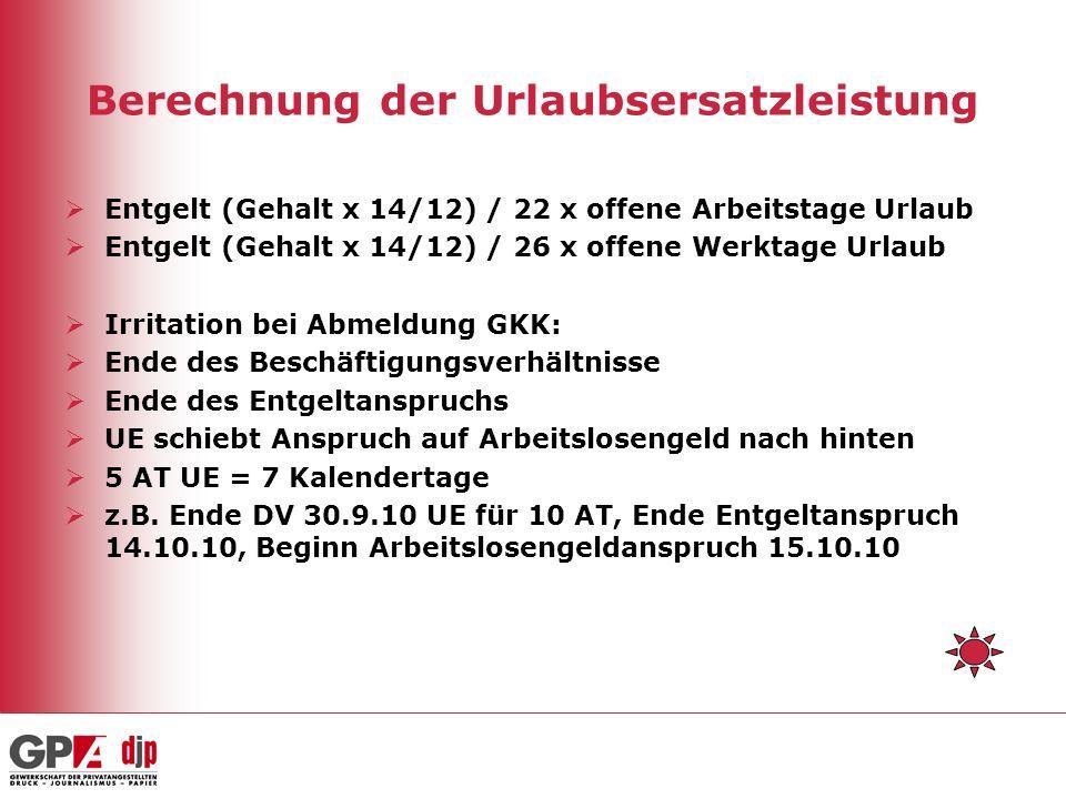 Berechnung der Urlaubsersatzleistung Entgelt (Gehalt x 14/12) / 22 x offene Arbeitstage Urlaub Entgelt (Gehalt x 14/12) / 26 x offene Werktage Urlaub Irritation bei Abmeldung GKK: Ende des Beschäftigungsverhältnisse Ende des Entgeltanspruchs UE schiebt Anspruch auf Arbeitslosengeld nach hinten 5 AT UE = 7 Kalendertage z.B.