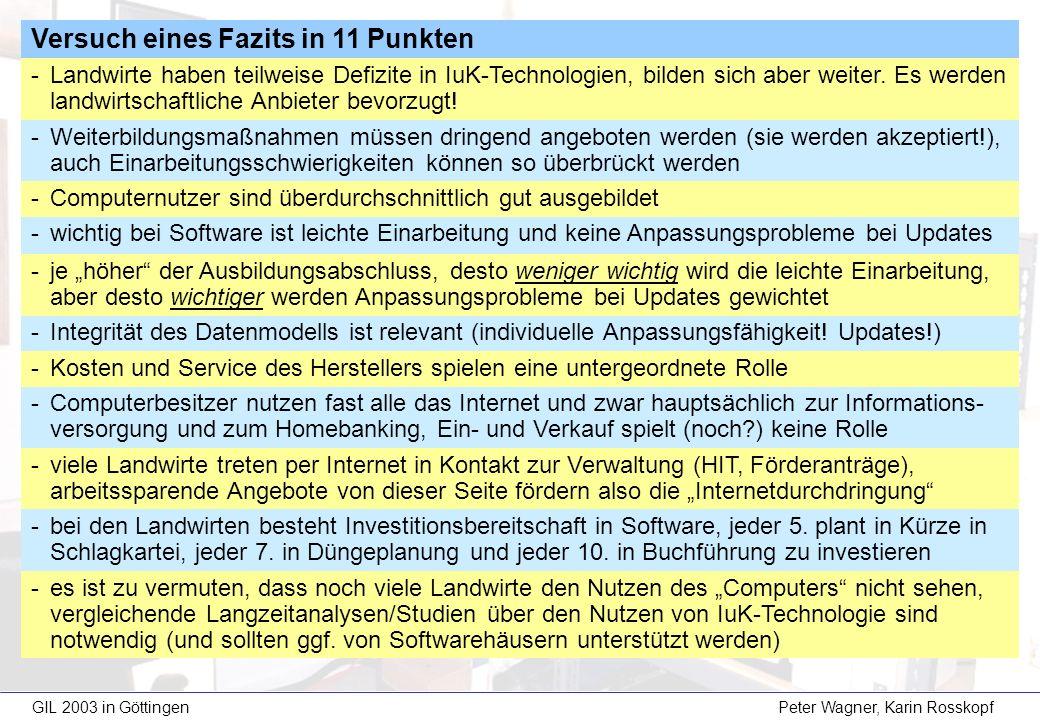GIL 2003 in Göttingen Peter Wagner, Karin Rosskopf Versuch eines Fazits in 11 Punkten -Landwirte haben teilweise Defizite in IuK-Technologien, bilden sich aber weiter.