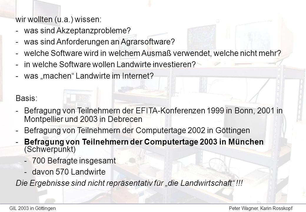 GIL 2003 in Göttingen Peter Wagner, Karin Rosskopf wir wollten (u.a.) wissen: -was sind Akzeptanzprobleme? -was sind Anforderungen an Agrarsoftware? -