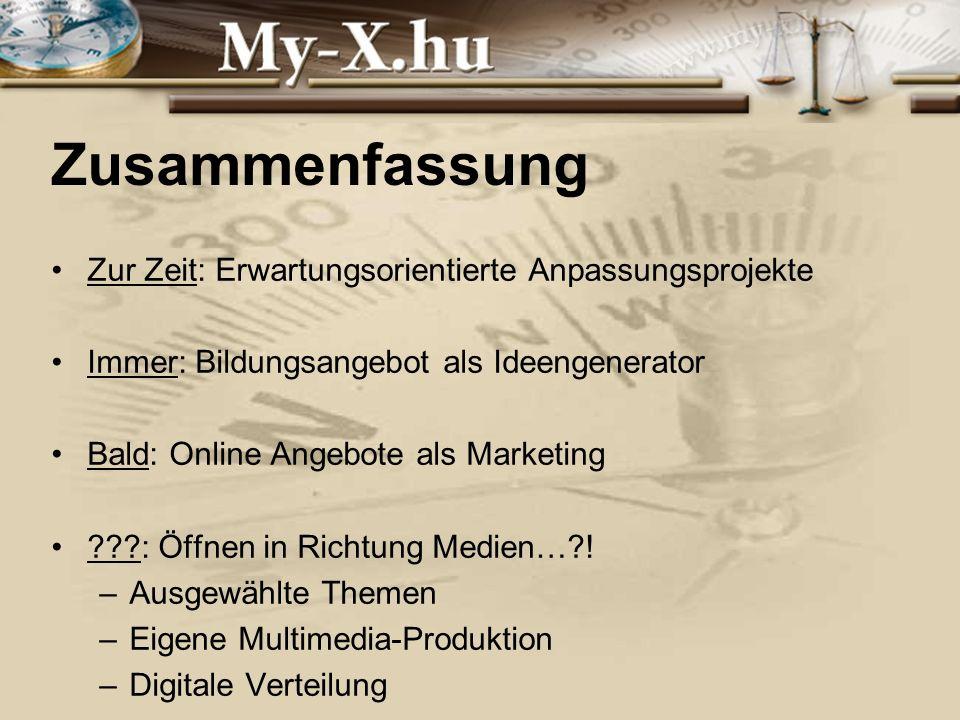 INNOCSEKK 156/2006 Zusammenfassung Zur Zeit: Erwartungsorientierte Anpassungsprojekte Immer: Bildungsangebot als Ideengenerator Bald: Online Angebote als Marketing ???: Öffnen in Richtung Medien…?.