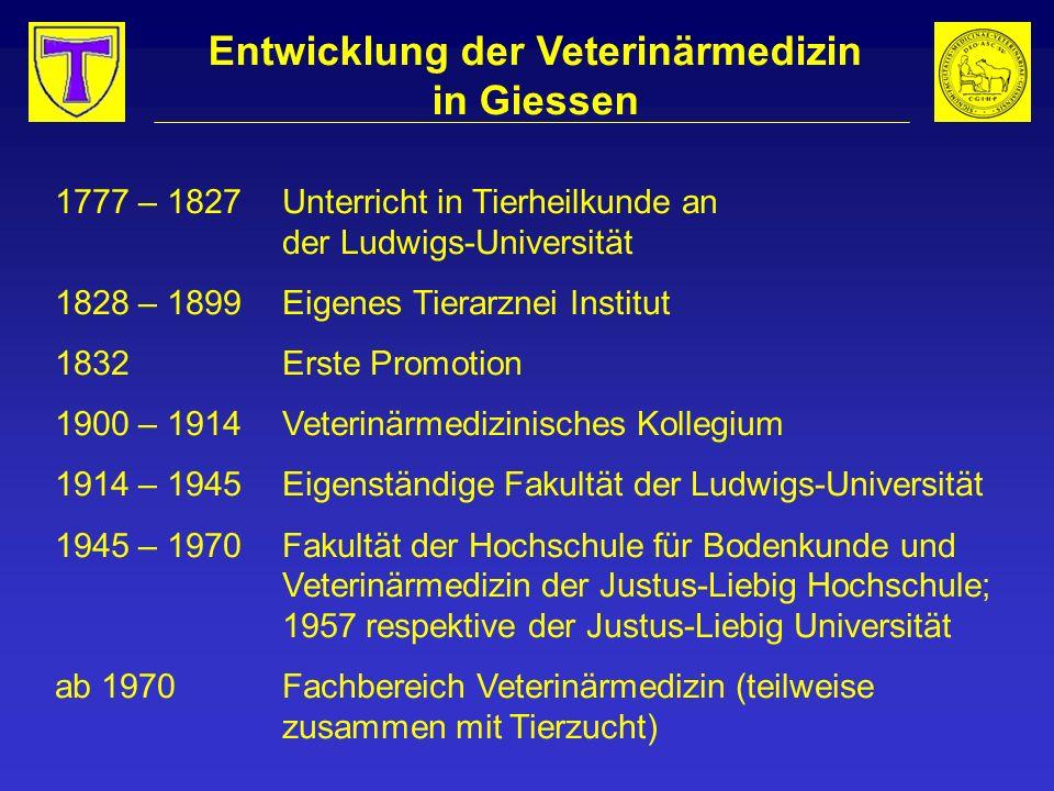 Entwicklung der Veterinärmedizin in Giessen 1777 – 1827Unterricht in Tierheilkunde an der Ludwigs-Universität 1828 – 1899Eigenes Tierarznei Institut 1