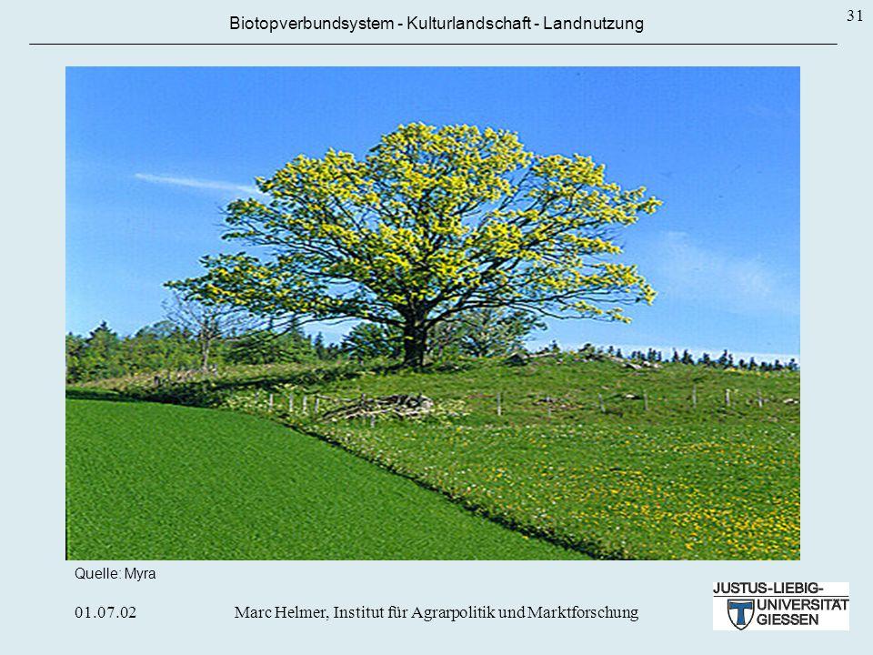 01.07.02Marc Helmer, Institut für Agrarpolitik und Marktforschung 31 Biotopverbundsystem - Kulturlandschaft - Landnutzung Quelle: Myra