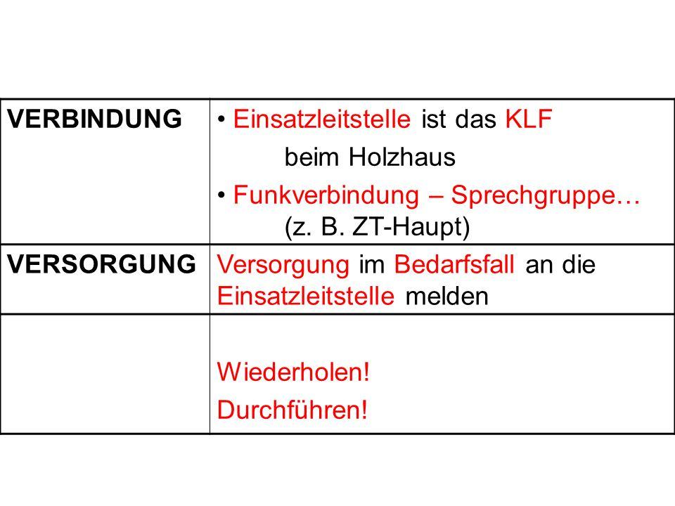 VERBINDUNG Einsatzleitstelle ist das KLF beim Holzhaus Funkverbindung – Sprechgruppe… (z. B. ZT-Haupt) VERSORGUNGVersorgung im Bedarfsfall an die Eins