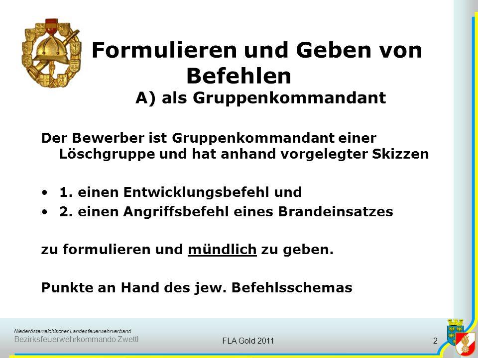 Niederösterreichischer Landesfeuerwehrverband Bezirksfeuerwehrkommando Zwettl FLA Gold 20112 Formulieren und Geben von Befehlen A) als Gruppenkommanda