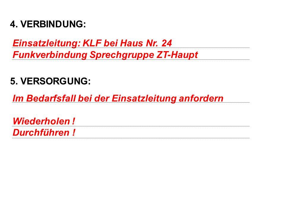 4.VERBINDUNG: 5. VERSORGUNG: Einsatzleitung: KLF bei Haus Nr.