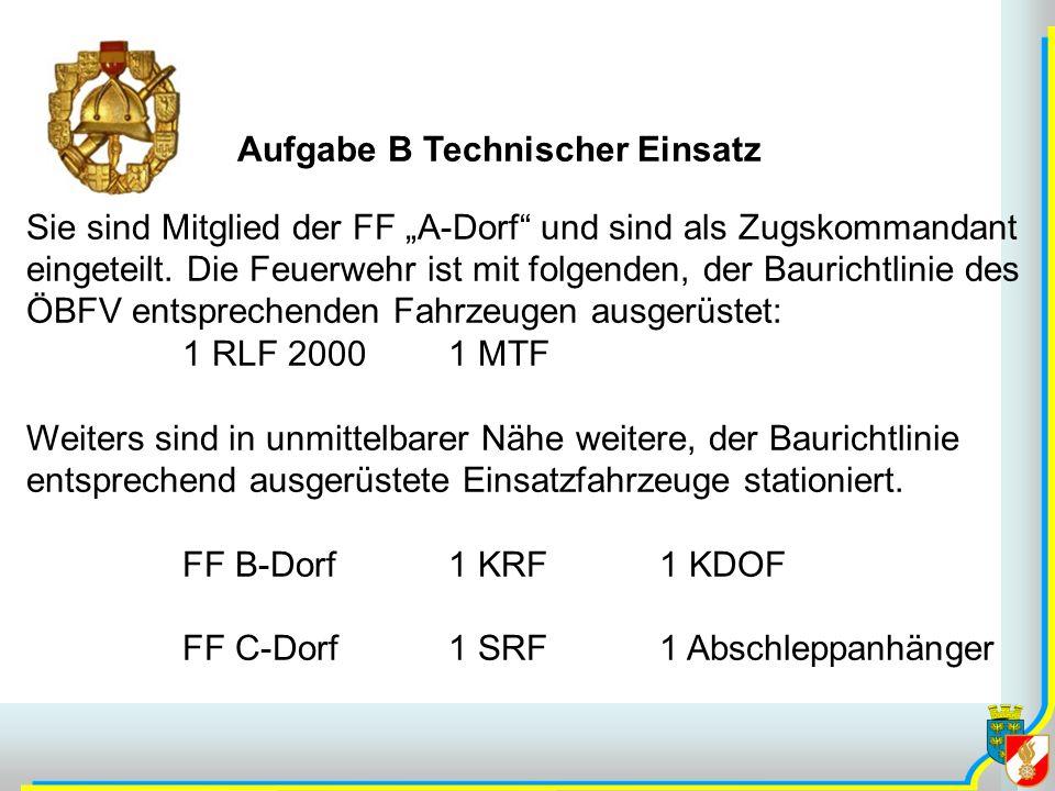 Aufgabe B Technischer Einsatz Sie sind Mitglied der FF A-Dorf und sind als Zugskommandant eingeteilt.