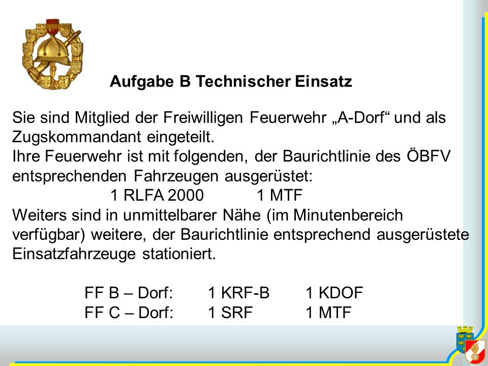 Aufgabe B Technischer Einsatz Sie sind Mitglied der Freiwilligen Feuerwehr A-Dorf und als Zugskommandant eingeteilt. Ihre Feuerwehr ist mit folgenden,