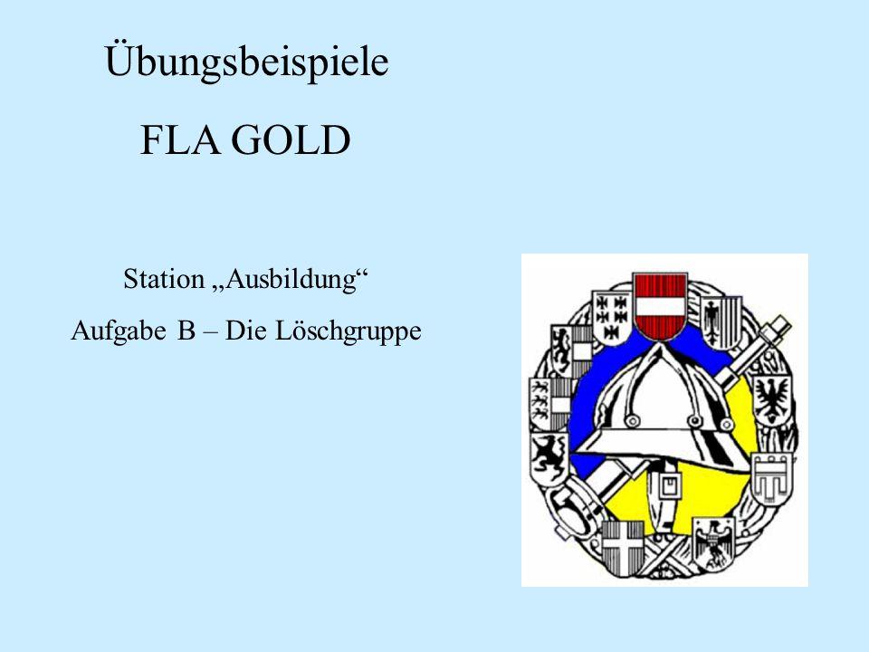 Übungsbeispiele FLA GOLD Station Ausbildung Aufgabe B – Die Löschgruppe