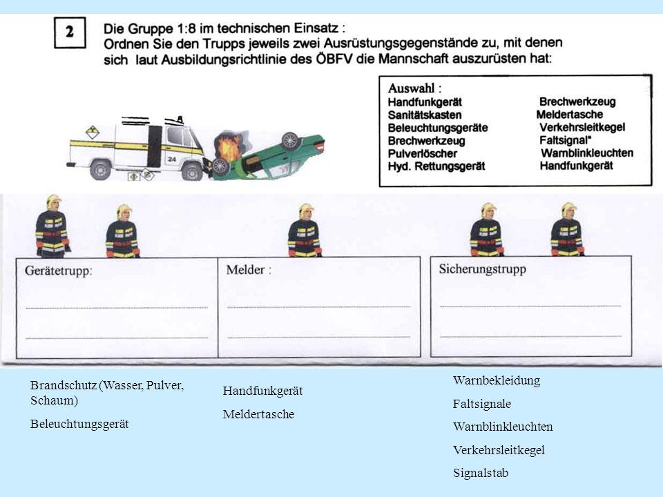 Brandschutz (Wasser, Pulver, Schaum) Beleuchtungsgerät Warnbekleidung Faltsignale Warnblinkleuchten Verkehrsleitkegel Signalstab Handfunkgerät Meldert