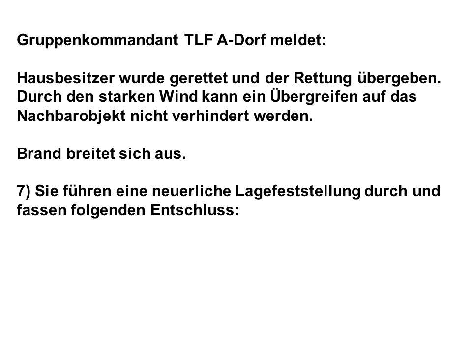 Gruppenkommandant TLF A-Dorf meldet: Hausbesitzer wurde gerettet und der Rettung übergeben.