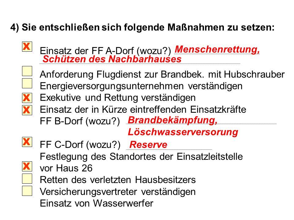 4) Sie entschließen sich folgende Maßnahmen zu setzen: Einsatz der FF A-Dorf (wozu?) Anforderung Flugdienst zur Brandbek.