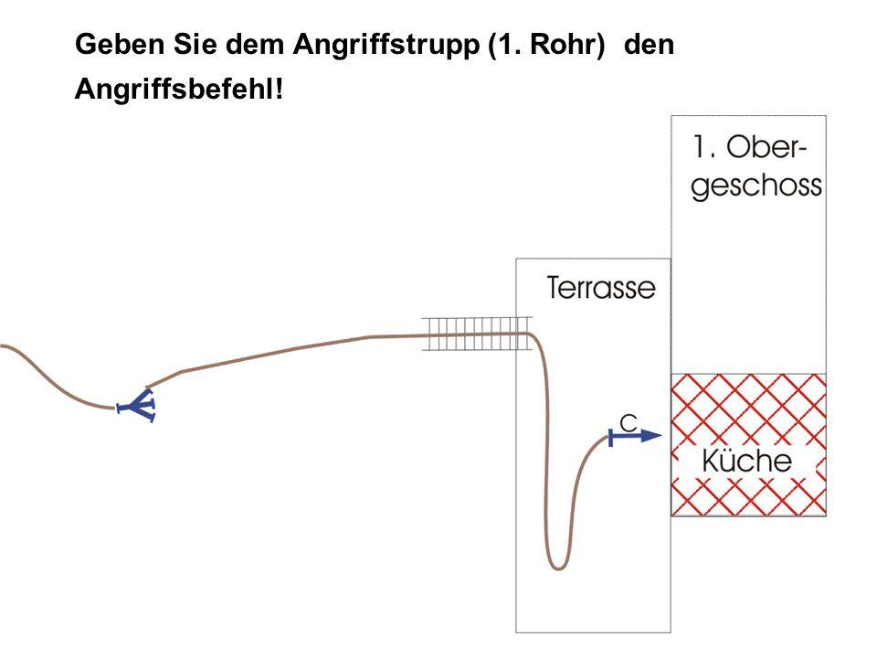 Lösung ANGRIFFSBEFEHL: TruppAngriffstrupp Angriffszielzur Brandbekämpfung in der Küche Angriffswegüber die Leiter und die Terrasse Angriffsmittelmit C-Rohr VOR!