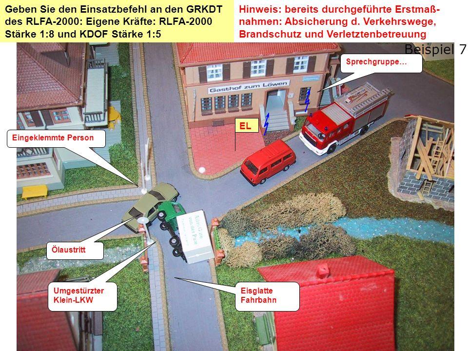 Lösung: Einsatzbefehl Schadenslage Verkehrsunfall Klein-LKW mit PKW LKW ist umgestürzt.
