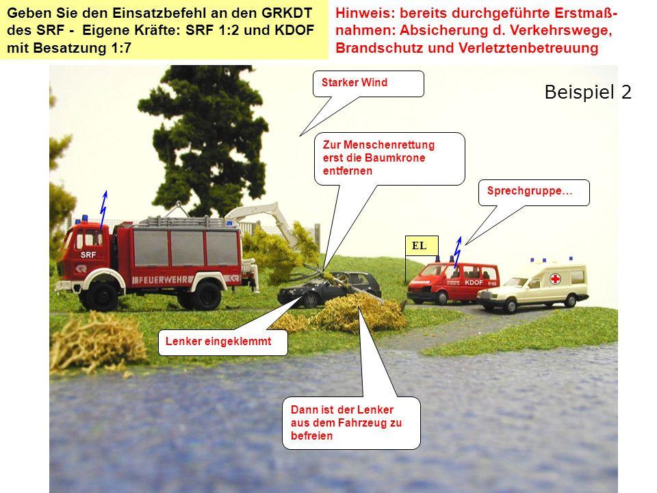 Dann ist der Lenker aus dem Fahrzeug zu befreien Zur Menschenrettung erst die Baumkrone entfernen Sprechgruppe… EL Hinweis: bereits durchgeführte Erst