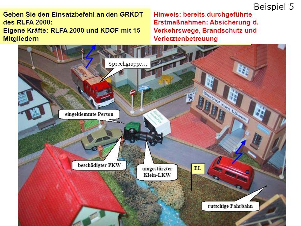 Geben Sie den Einsatzbefehl an den GRKDT des RLFA 2000: Eigene Kräfte: RLFA 2000 und KDOF mit 15 Mitgliedern Hinweis: bereits durchgeführte Erstmaßnahmen: Absicherung d.