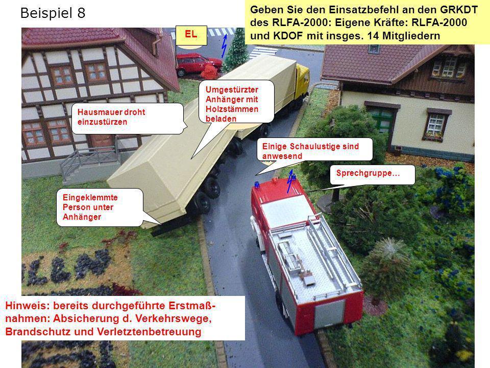 Lösung: Einsatzbefehl Schadenslage LKW-Anhänger gegen Haus gestürzt Hausmauer droht einzustürzen.