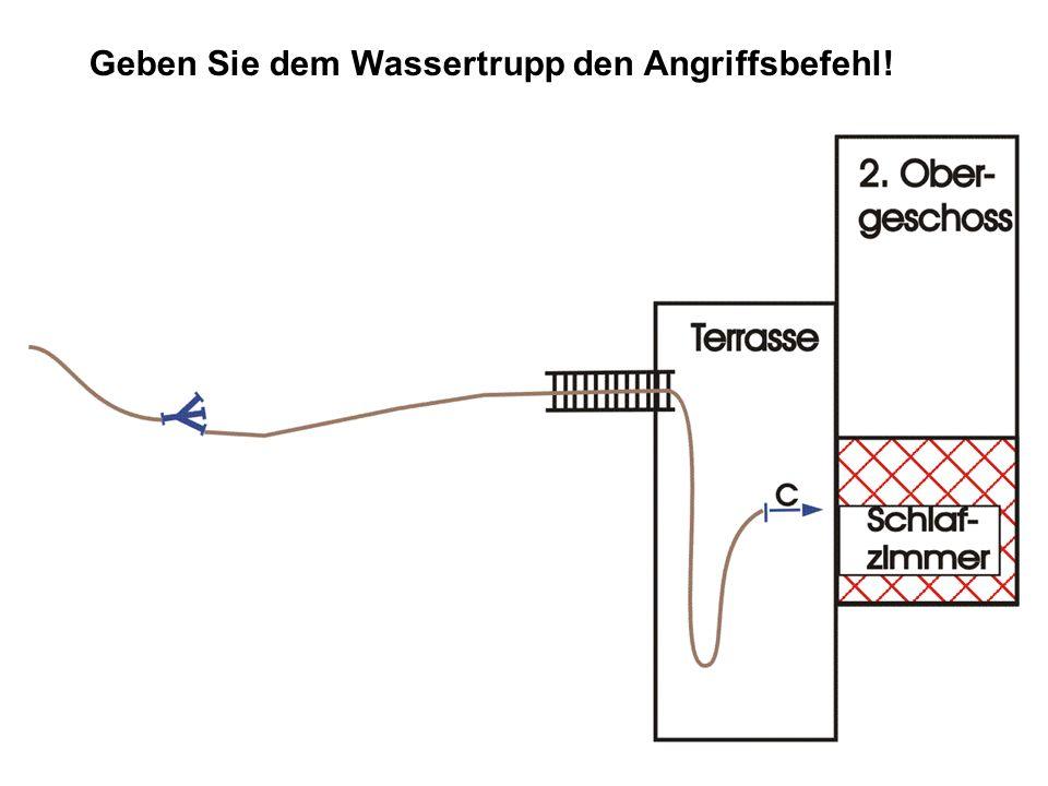 Lösung ANGRIFFSBEFEHL: TruppWassertrupp Angriffszielzur Brandbekämpfung im Schlafzimmer im 2.